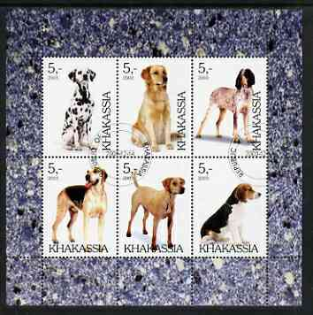 Chakasia 2003 Dogs perf sheetlet containing set of 6 values cto used