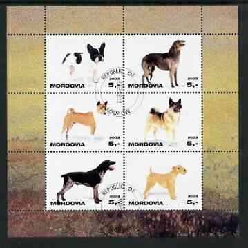 Mordovia Republic 2003 Dogs #1 perf sheetlet containing set of 6 values cto used