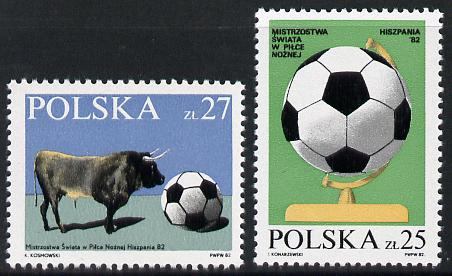 Poland 1982 World Cup Football set of 2 unmounted mint, SG 2815-16