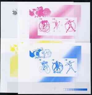 North Korea 2000 Sydney Olympic Games imperf proof of sheetlet #1 (Cycling, basketball, Javelin) - the set of 4 imperf progressive proofs comprising the 4 individual colours (magenta, yellow, blue & black)