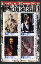 Ivory Coast 2003 Art of the Renaissance - Paintings by Albrecht Durer perf sheetlet containing 4 values unmounted mint