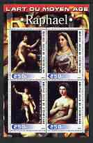 Ivory Coast 2003 Art of the Renaissance - Paintings by Raphael perf sheetlet containing 4 values unmounted mint