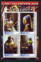 Ivory Coast 2003 Art of the Renaissance - Paintings by Jan Vermeer perf sheetlet containing 4 values unmounted mint