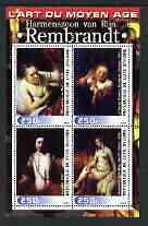 Ivory Coast 2003 Art of the Renaissance - Paintings by Rembrandt perf sheetlet containing 4 values unmounted mint