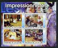 Ivory Coast 2003 Art of the Impressionists - Paintings by Edgar Degas perf sheetlet containing 4 values unmounted mint