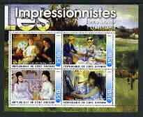 Ivory Coast 2003 Art of the Impressionists - Paintings by Berthe Morisot perf sheetlet containing 4 values unmounted mint