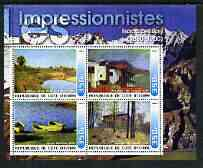 Ivory Coast 2003 Art of the Impressionists - Paintings by Isaac Levitan perf sheetlet containing 4 values unmounted mint