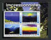 Ivory Coast 2003 Art of the Impressionists - Paintings by Atkhip Kuinji perf sheetlet containing 4 values unmounted mint