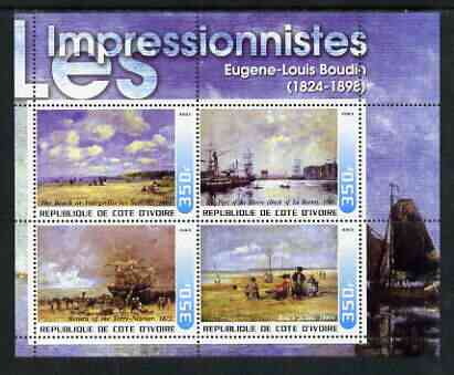 Ivory Coast 2003 Art of the Impressionists - Paintings by Eugene-Louis Boudin perf sheetlet containing 4 values unmounted mint