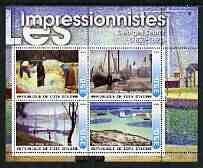 Ivory Coast 2003 Art of the Impressionists - Paintings by Georges Seurat perf sheetlet containing 4 values unmounted mint