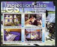 Ivory Coast 2003 Art of the Impressionists - Paintings by Edouard Manet perf sheetlet containing 4 values unmounted mint