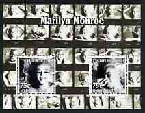 Kyrgyzstan 2003 Marilyn Monroe perf m/sheet containing 2 values (B&W) unmounted mint