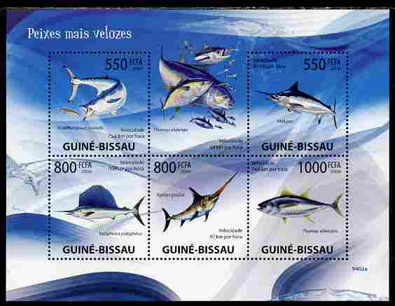 Guinea - Bissau 2009 Fish - Speed Records perf sheetlet containing 5 values unmounted mint Yv 2981-85