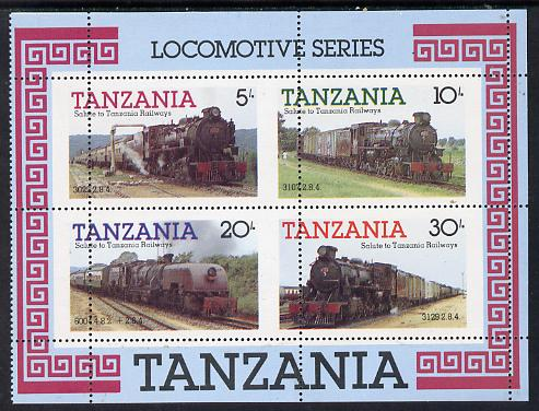 Tanzania 1985 Locomotives m/sheet with superb misplaced perforations unmounted mint (SG MS 434)