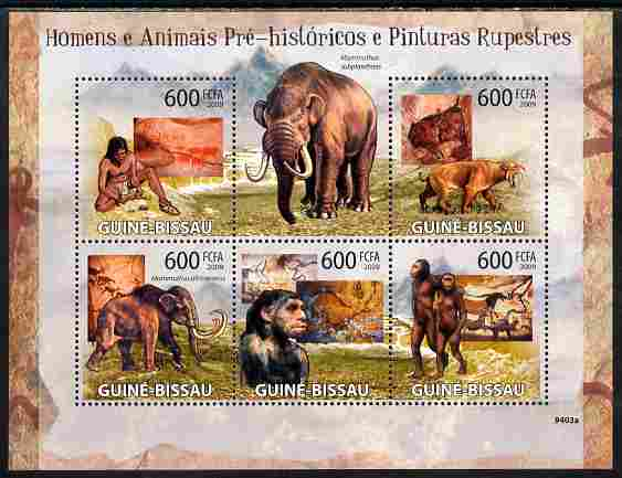 Guinea - Bissau 2009 Pre-Historic Man, Animals & Cave Paintings perf sheetlet containing 5 values unmounted mint Yv 2986-90