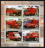 Congo 2003 Fire Services 1,000 Years perf sheetlet containing 6 x 135 cf values each with Rotary Logo, unmounted mint