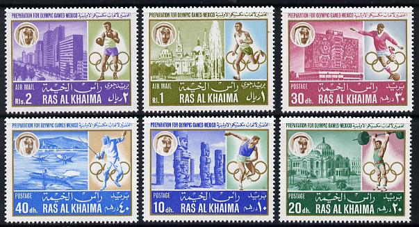 Ras Al Khaima 1967 Mexico Pre-Olympics (Buildings) perf set of 6 unmounted mint Mi 203A-208A