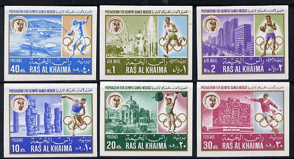 Ras Al Khaima 1967 Mexico Pre-Olympics (Buildings) imperf set of 6 unmounted mint, Mi 203B-208B