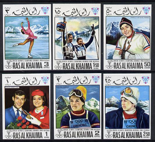 Ras Al Khaima 1968 Grenoble Winter Olympics imperf set of 6 unmounted mint Mi 253B-258B