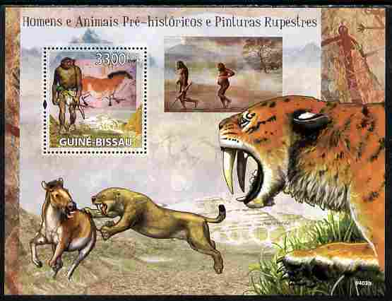 Guinea - Bissau 2009 Pre-Historic Man, Animals & Cave Paintings perf s/sheet unmounted mint Yv 456