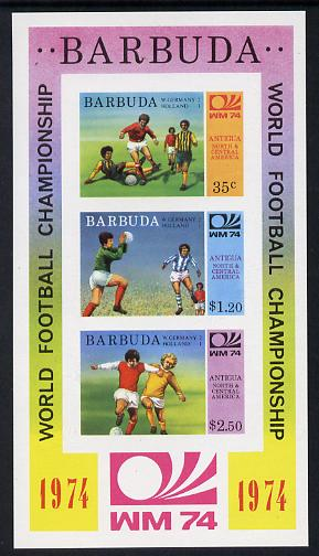 Barbuda 1974 World Cup Football Winners imperf m/sheet (unissued with names of teams) unmounted mint