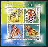 Benin 2003 World Fauna #02 - Tigers perf sheetlet containing 4 values unmounted mint