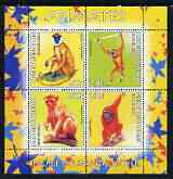 Benin 2003 World Fauna #13 - Primates perf sheetlet containing 4 values unmounted mint