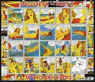Benin 2003 Gullivera's Travels #01 - (Strip Cartoon) perf sheetlet of 20 (2 values + 18 labels) unmounted mint