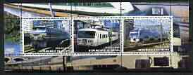Benin 2003 Modern Electric Trains perf sheetlet containing 3 values unmounted mint