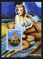 Benin 2003 Fantasy Art by Carlos Cartagena (Woman Golfer) perf m/sheet unmounted mint, stamps on arts, stamps on women, stamps on golf, stamps on telescopes