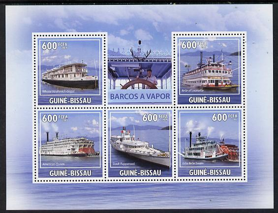 Guinea - Bissau 2009 Steamships perf sheetlet containing 5 values unmounted mint