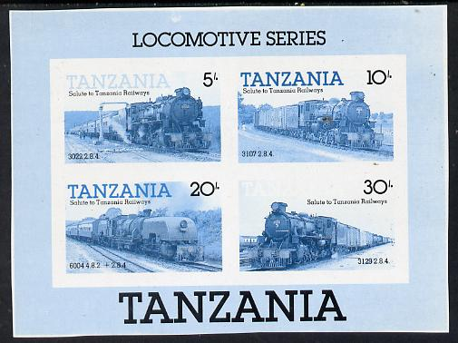 Tanzania 1985 Locomotives unmounted mint imperf colour proof of m/sheet in blue & black only (SG MS 434)