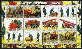 Benin 2003 Historical Fire Engines of France perf sheet containing 12 values unmounted mint