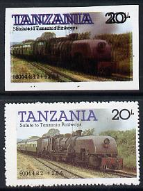 Tanzania 1985 Locomotive 6004 20s value (SG 432) unmounted mint imperf single with entire design doubled plus perf'd normal*