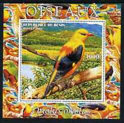 Benin 2003 Birds - Oriole composite perf sheetlet containing 1 value + 1 label with Scouts Logo, unmounted mint