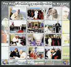 Touva 2003 Pope John Paul II perf sheetlet containing complete set of 12 values (inscribed Visit to Croatia) unmounted mint