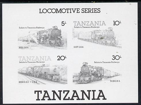 Tanzania 1985 Locomotives unmounted mint imperf colour proof of m/sheet in black only (SG MS 434)
