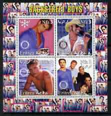 Eritrea 2003 Backstreet Boys perf sheetlet containing set of 4 values each with Rotary International Logo unmounted mint