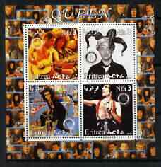 Eritrea 2003 Queen (pop group) #2 perf sheetlet containing set of 4 values each with Rotary International Logo unmounted mint