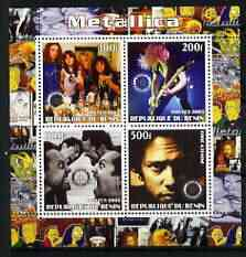 Benin 2003 Metallica #2 perf sheetlet containing set of 4 values each with Rotary International Logo unmounted mint