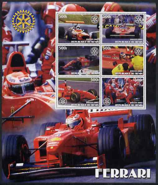 Benin 2003 Ferrari Racing Cars large perf sheet containing 6 values each with Rotary Logo, unmounted mint