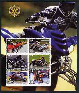 Benin 2003 Motorcycles large perf sheet containing 6 values each with Rotary Logo, unmounted mint