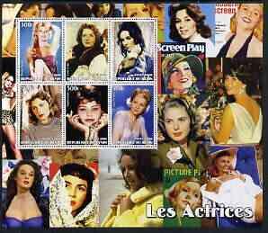 Benin 2003 Actresses large perf sheet containing 6 values, (showing B Bardot, Greta Garbo, Liz Taylor, Ingrid Bergman, Sophia Loren & Joan Fontaine) unmounted mint