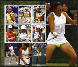 Ivory Coast 2003 Famous Tennis Women large perf sheet containing 6 values, (showing Williams Sisters, Kournikova, Capriati etc) unmounted mint