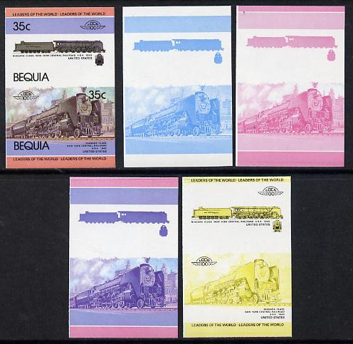 St Vincent - Bequia 1984 Locomotives #1 (Leaders of the World) 35c (4-8-4 New York Central Niagara Class) set of 5 imperf se-tenant progressive proof pairs comprising two individual colours, two 2-colour and all 4-colour composites unmounted mint