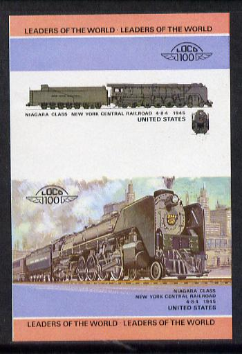 St Vincent - Bequia 1984 Locomotives #1 (Leaders of the World) 35c (4-8-4 New York Central Niagara Class) imperf se-tenant progressive proof pair with Country name and value omitted unmounted mint