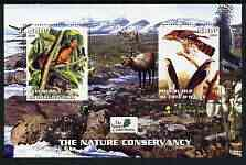Ivory Coast 2003 The Nature Conservancy perf m/sheet containing 2 x 500f values (mammals & birds by John Audubon) unmounted mint