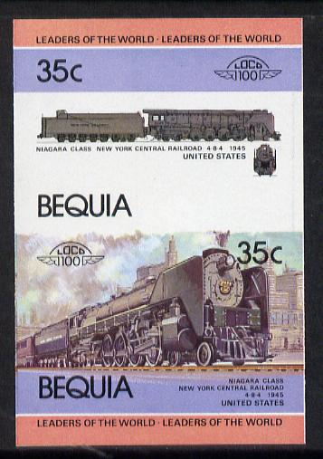 St Vincent - Bequia 1984 Locomotives #1 (Leaders of the World) 35c (4-8-4 New York Central Niagara Class) se-tenant pair imperf unmounted mint from a limited printing