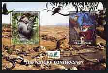 Mauritania 2003 The Nature Conservancy perf m/sheet containing 2 x 150 um values (Apes, Bears & Birds) unmounted mint