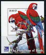 Congo 2003 Royal Society for Protection of Birds perf m/sheet (Parrots) unmounted mint